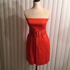 Orange Belted Halter Top Dress with Pockets